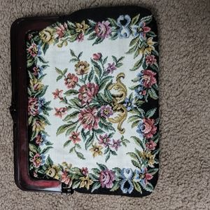 Vintage embroidered tapestry clutch